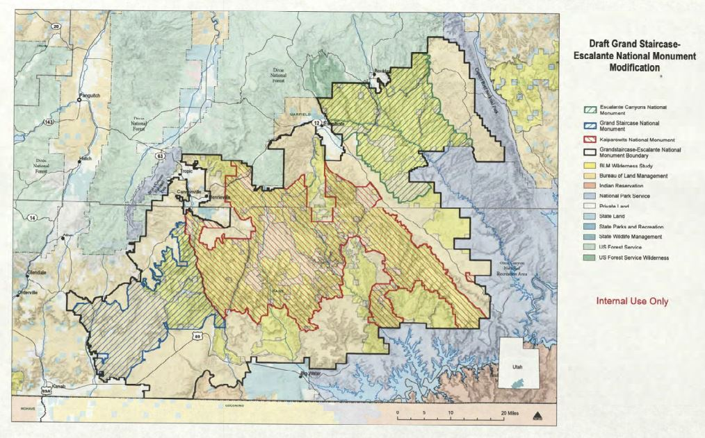 Grand Staircase Escalante Map Maps: Boundary modifications for Bears Ears and Grand Staircase  Grand Staircase Escalante Map
