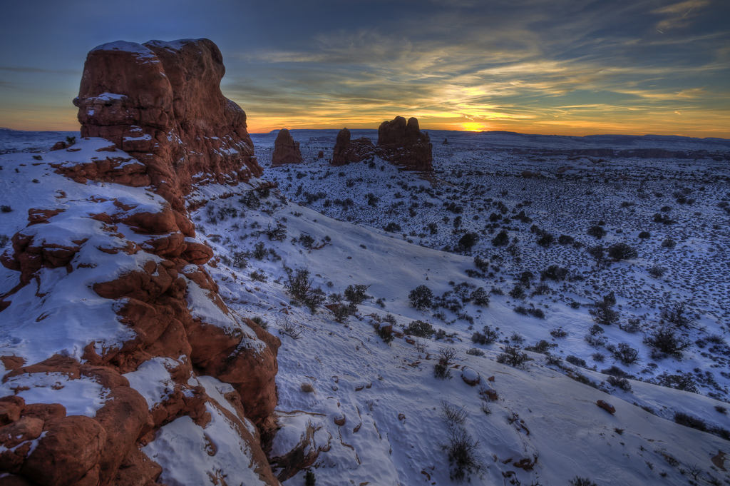 Sunset in Arches National Park, UT