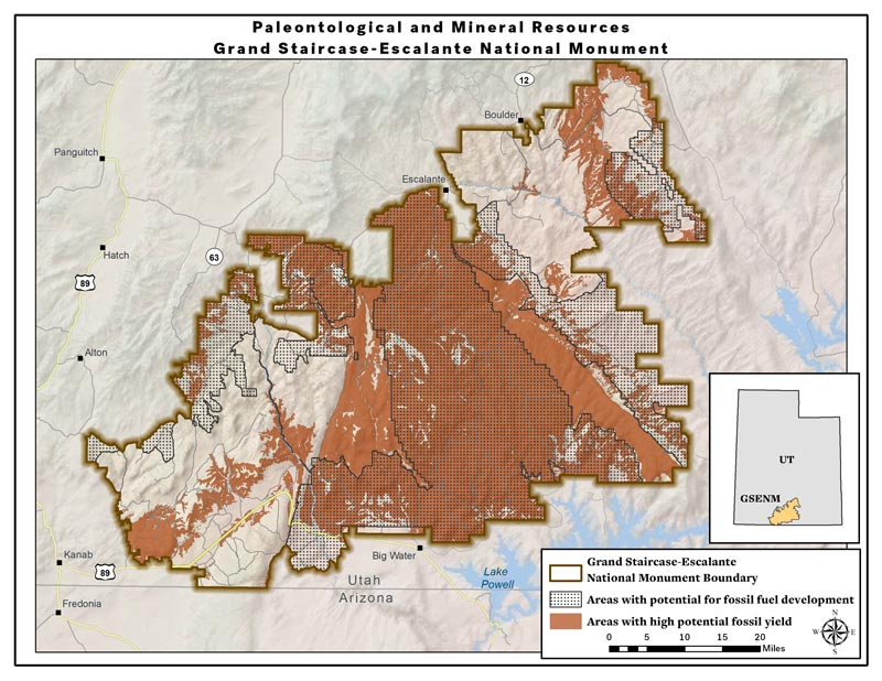 Map: High potential fossil yield and fossil fuel areas -- original Grand Staircase-Escalante National Monument (PDF)