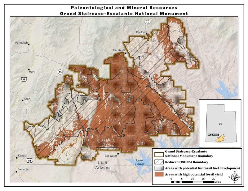 Map: High potential fossil yield and fossil fuel areas -- reduced Grand Staircase-Escalante National Monument (PDF)