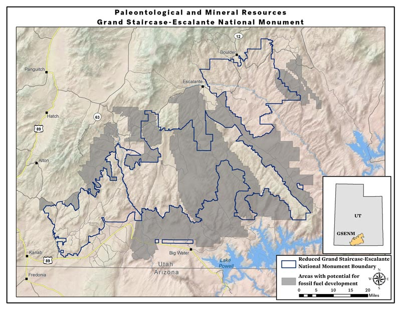 Map: Potential fossil fuel development areas -- Grand Staircase Escalante National Monument (PDF)