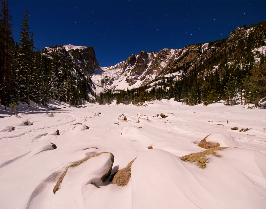 Frozen lake in Rocky Mountain National Park, CO