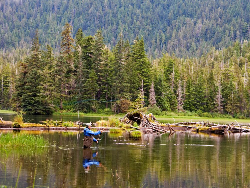 Fly-fishing on Lake Eva in Tongass National Forest, Alaska