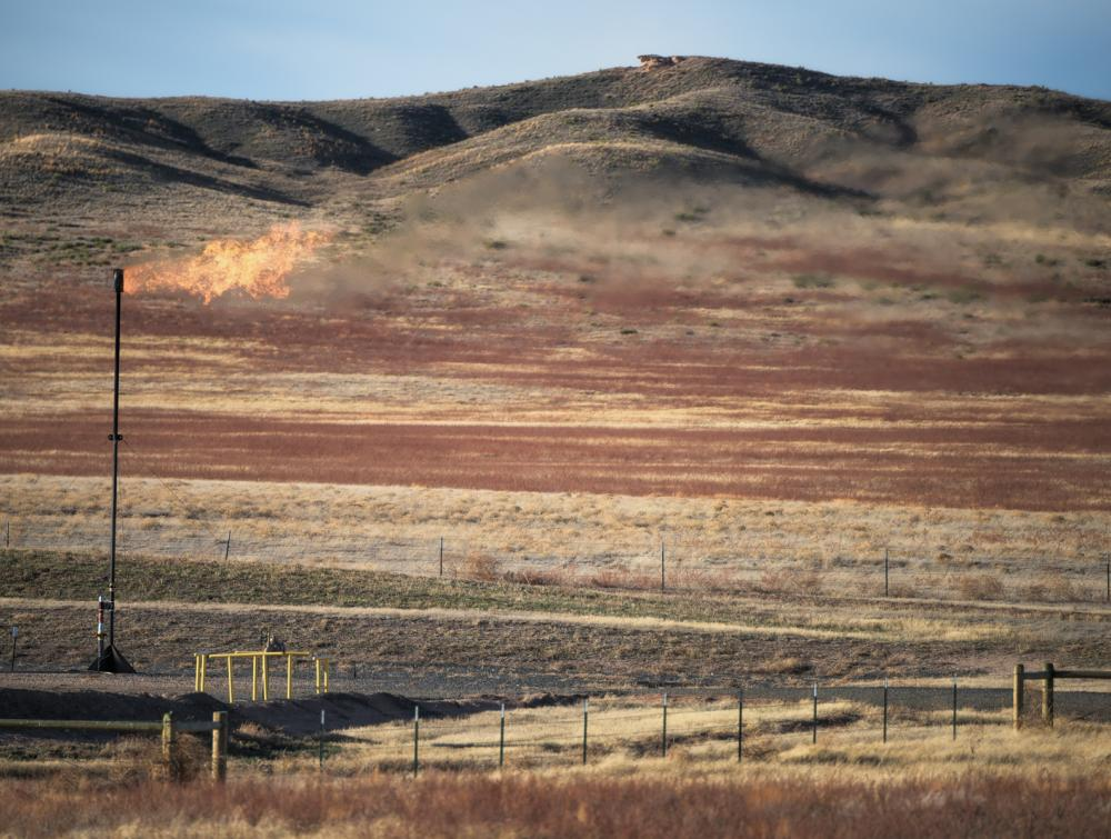 Methane flare in Pawnee National Grassland, Colorado.