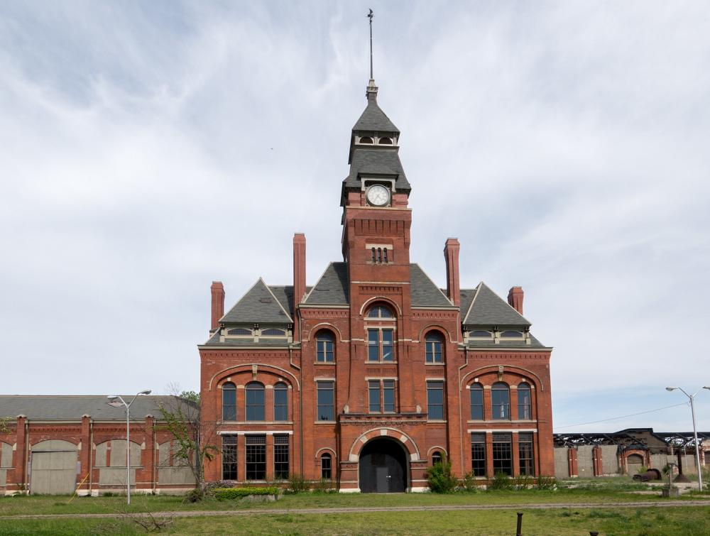 Red-brick building with central spire at Pullman National Monument, Illinois