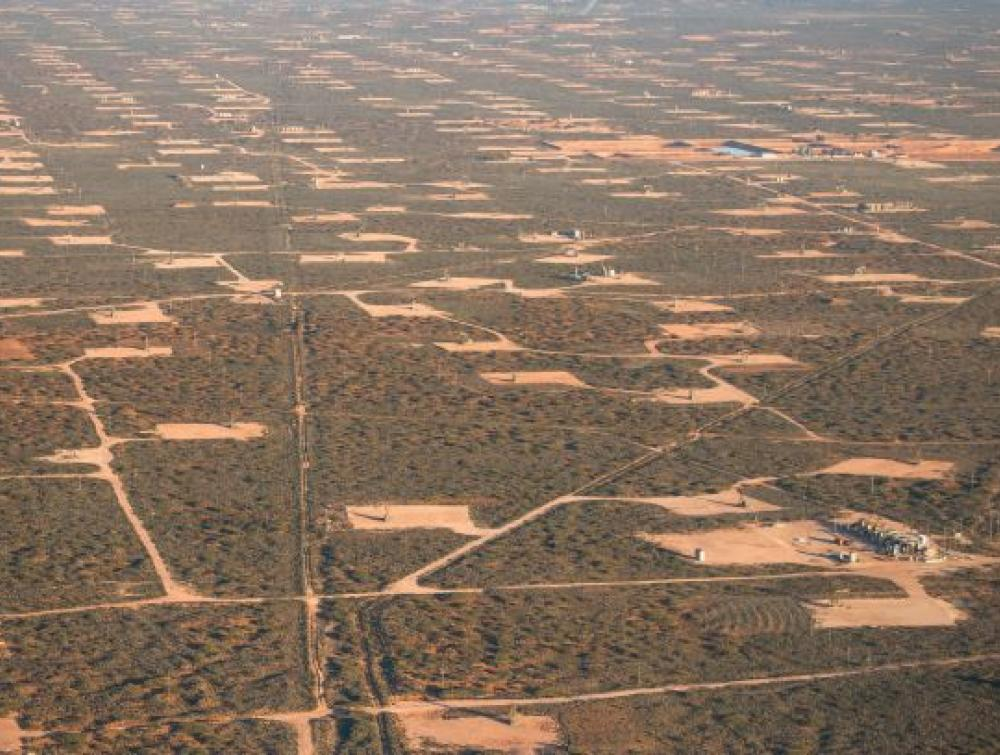 Oil and gas pads near Carlsbad, New Mexico.