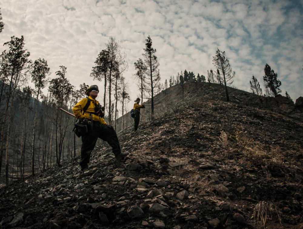 A firefighter on U.S. Forest Service land in Idaho
