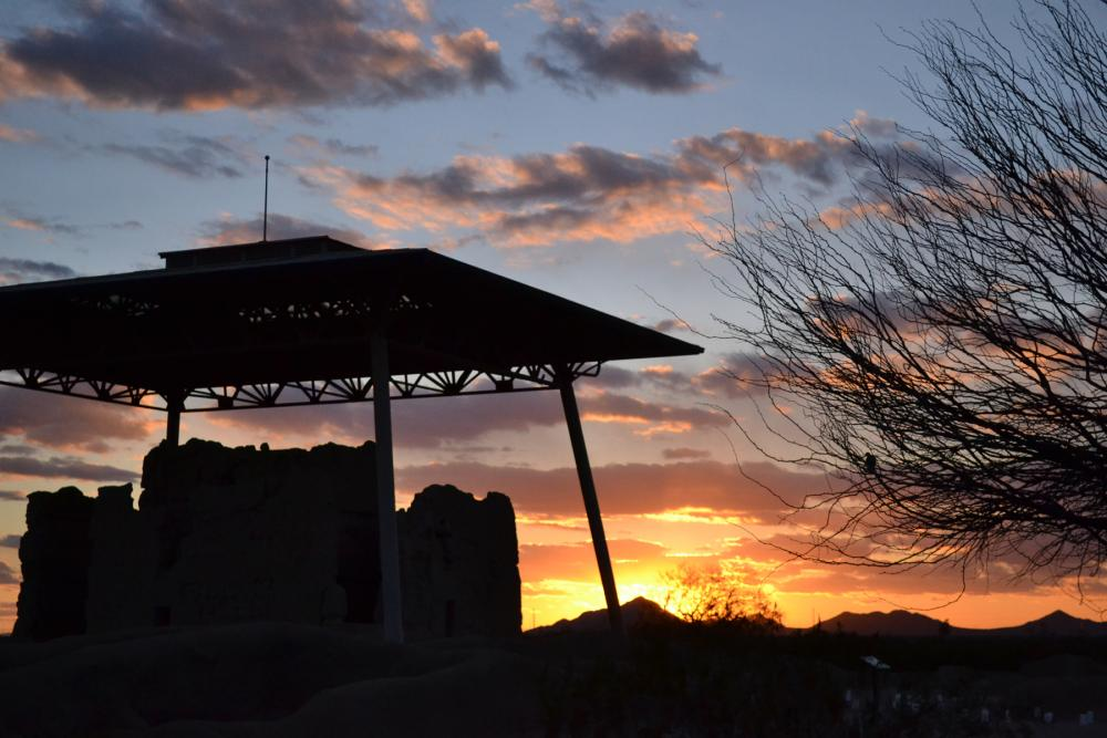 "Sunset behind the ""Great House"" at Casa Grande Ruins National Monument, Arizona"