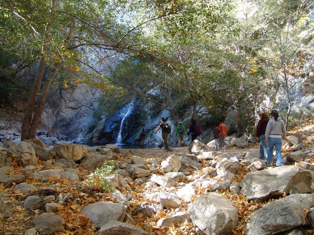 Hikers in Sturtevant Falls in Angeles National Forest, California