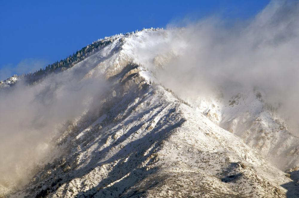 Snowy Cucamonga Peak in the San Gabriel Mountains, California