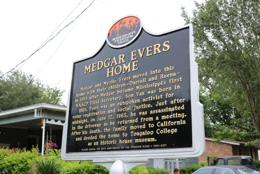 "Sign reading ""Mississippi Freedom Trail"" and ""Medgar Evers home"" in front of Medgar and Myrlie Evers National Monument, Mississippi"