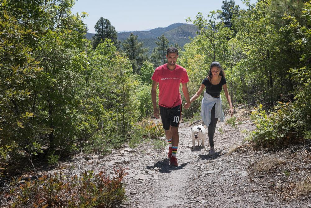 Two hikers holding hands and walking toward foreground in sunlit clearing in Gila National Forest, New Mexico