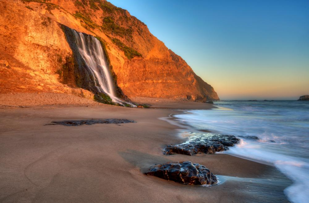 Waterfalls are a special treat for those hiking along the seashore.