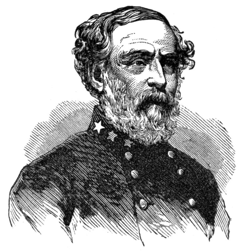 Black and white engraving of seated bearded man